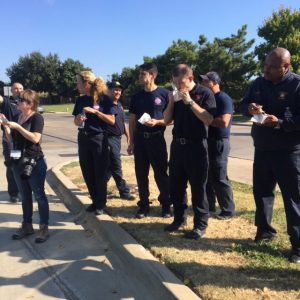 A North Texas fire department enjoys a Random Snack of Kindness from the Kindness Truck. Photo courtesy Ruthie's.