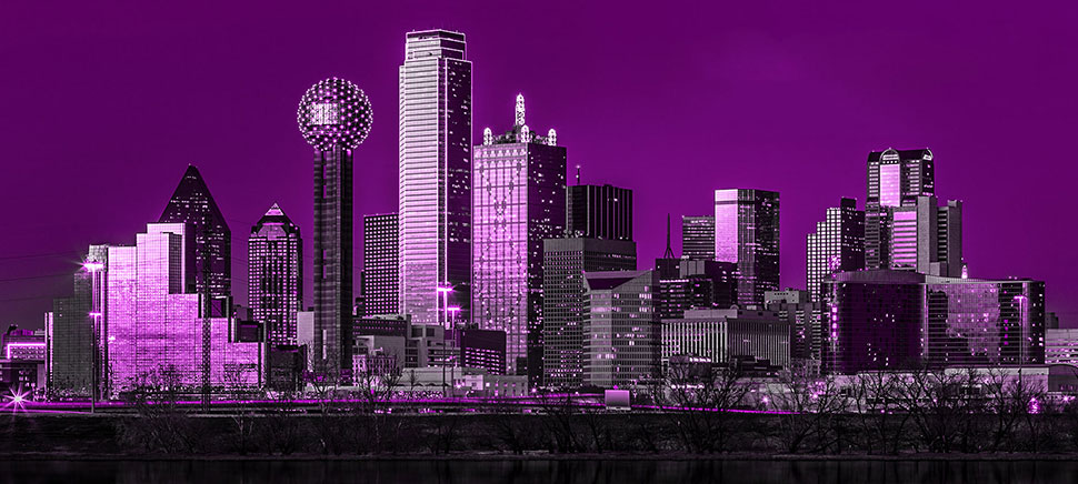 purple dallas skyline