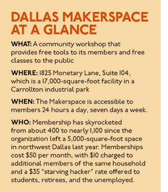 """WHAT: A community workshop that provides free tools to its members and free classes to the public Where: 1825 Monetary Lane, Suite 104, which is a 17,000-square-foot facility in a Carrollton industrial park When: The Makerspace is accessible to members 24 hours a day, seven days a week. Who: Membership has skyrocketed from about 400 to nearly 1,100 since the organization left a 5,000-square-foot space in northwest Dallas last year. Memberships cost $50 per month, with $10 charged to additional members of the same household and a $35 """"starving hacker"""" rate offered to students, retirees, and the unemployed."""