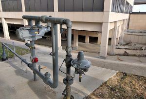 The new meter that supplies natural gas to restaurants in Terminal B. (Photo by Nicholas Sakelaris)