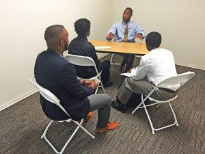 Young entrepreneurs listen to a mentor at Dallas Startup Week. (Photos by Michael Gordon)