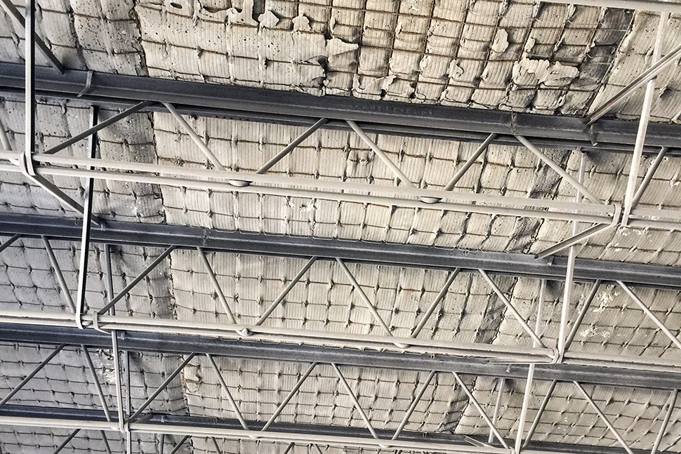 Architect Gary Gene Olp will preserve many original details such as this ceiling from the circa 1910 building. (Dallas Innovates staff photo)