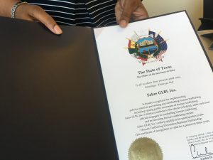 The certificate from the Texas Secretary of State for the efforts against human trafficking in travel and tourism.