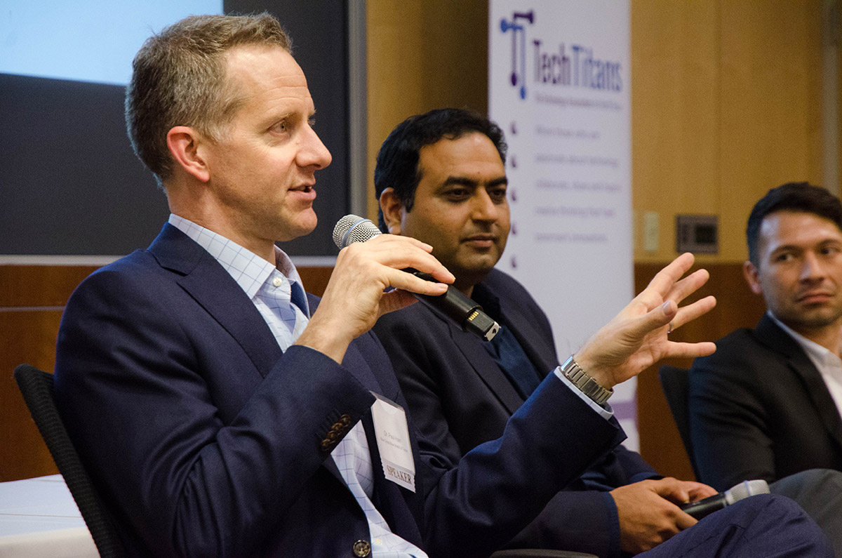 Dr. Paul Hain discusses the need of a new data system for health care providers at the UT Dallas Tech Titans Event. Photo by Hannah Ridings.