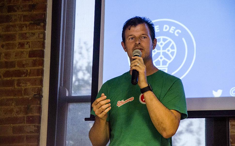 Michael Sitarzewski talks about making Dallas a start up hub at the DEC Unplugged Event.