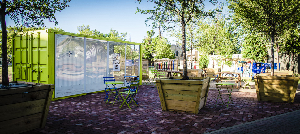 The Magnolia Micro Park offers a public space with art and seating to those on the corner of Henderson and Magnolia in Fort Worth. [Photo: Hannah Ridings]