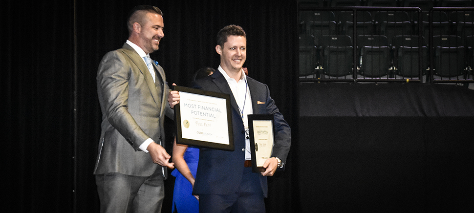 Best Pitch of the Night and Most Financial Potential went to John Clark of ProsRent. [ Photo: Dallas Innovates ]
