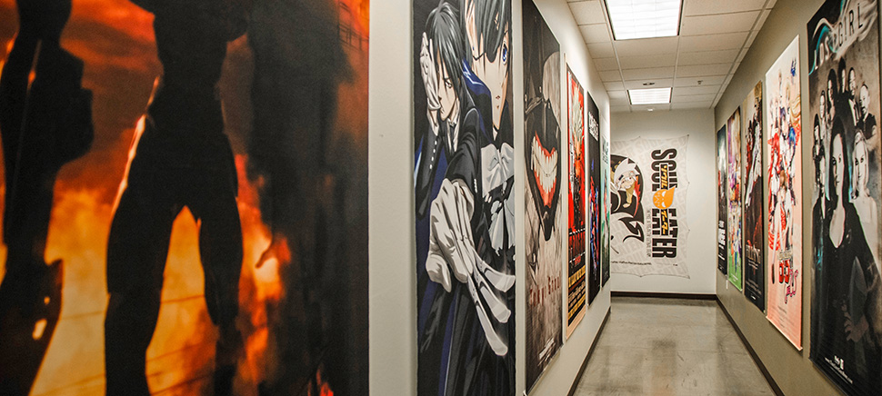 The Frisco Funimation office is decorated in posters that line the hallways. [Photo: Hannah Ridings]