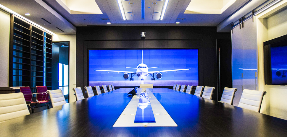 The Sabre suit conference room offers a touch screen display for presentations.