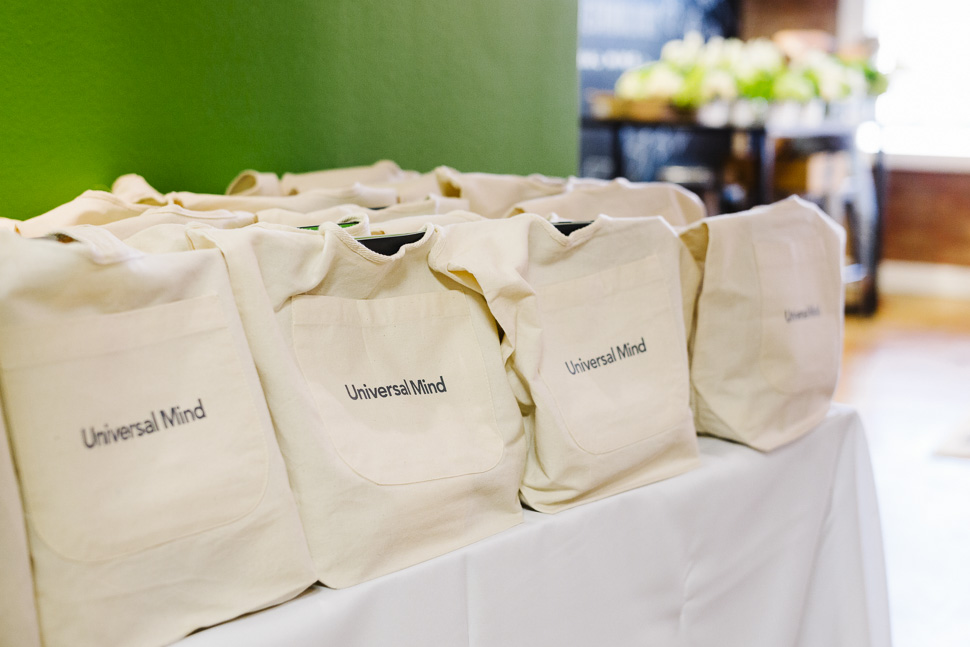 Guest gift bags contained tech-oriented surprises. [ Photo via Universal Mind ]