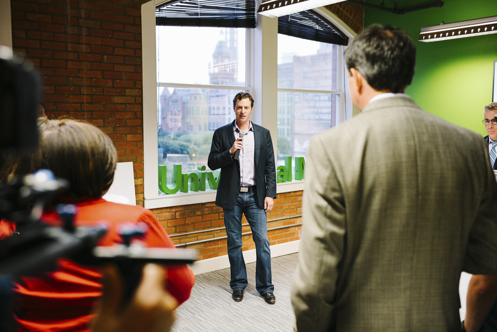 UM CEO Brett Cortese welcomes guests. [ Photo via Universal Mind ]
