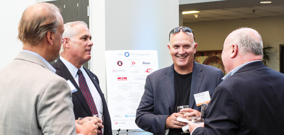 From left to right: Executive Host Mark Austin, VP Big Data, AT&T; Andrew Jackson, BravoTECH; Executive Host Gregory Ericson, CIO, Essilor; Rost Ginevich, Overdale Group