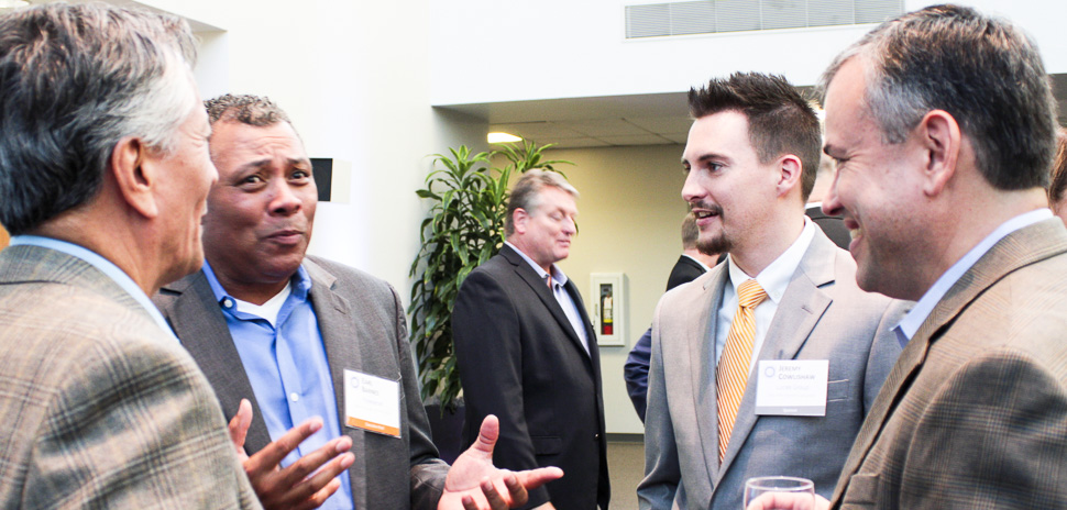 Left to right: Executive Hosts Tom LaPlante, CDO, Arena Online and Earl Barnes, Head of Global Infrastructure, Flowserve; Jeremy Cowlishaw from Lucas Group; Executive Host Larry Freed, CIO, Overhead Door