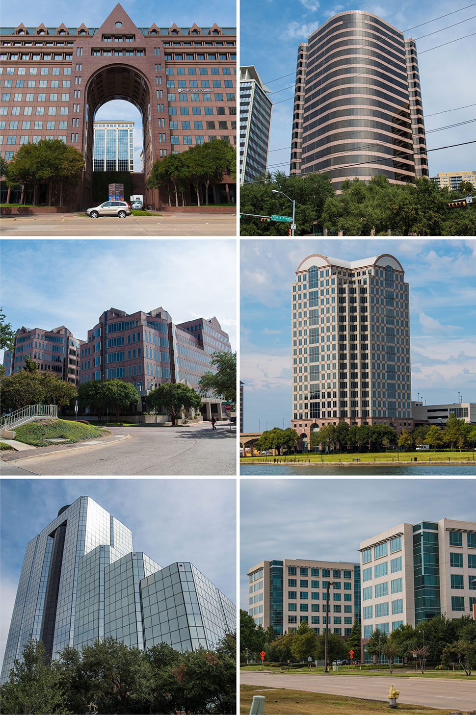 Top row: Providence Towers and 3811 Turtle Creek Boulevard; Second row: Preston Commons and Tower 909; Third row: Highland Park Place and Legacy Town Center. [Photos: Michael Samples]