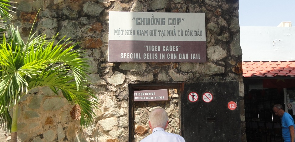 The Con Dau Jail, with its infamous Tiger Cages, was re-created at the War Remnants Museum in Ho Chi Minh City. At the museum, students saw relics and photos from the Vietnam War. The jail is actually on an island off the coast of Vietnam.