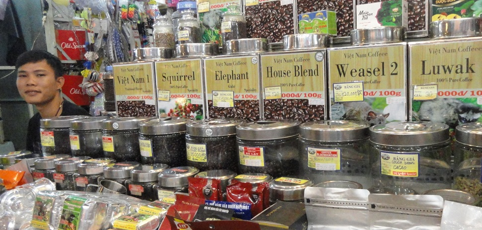 And then there are the things that just don't translate well inthe U.S. economy — such as Weasel, Squirrel, or Elephant coffee being sold by a Vietnamese vendor.