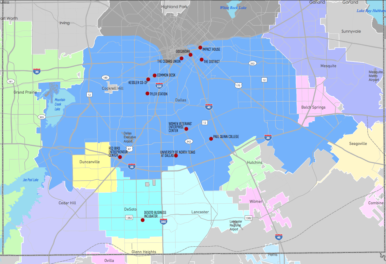 Southern Dallas Entrepreneurial Ecosystem Map  [Map: Dallas Regional Chamber]