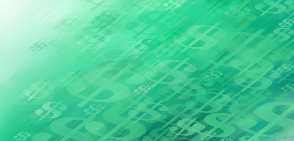 Abstract Concept of Cash Flow... Represented by Dollar Signs that Appear in Motion Moving Up On a Soft Money Green Gradient Background