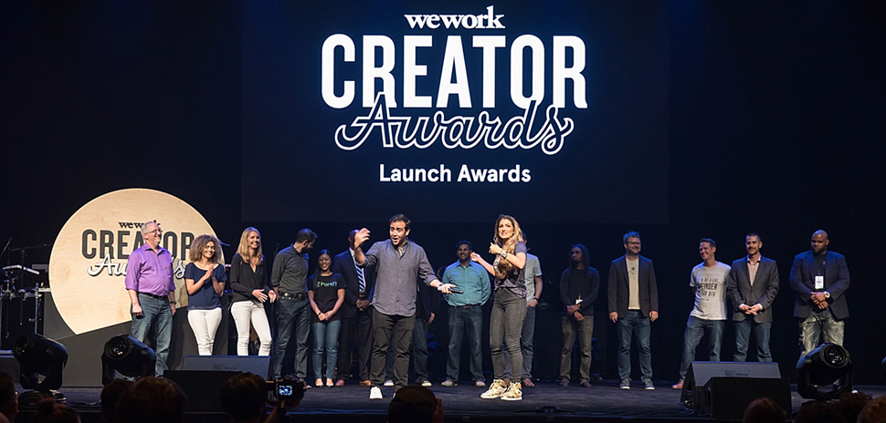 eWork Creator Awards Austin at ACL Live at The Moody Theater on June 27, 2017 in Austin, Texas: Dallas finalists are Keisha Whaley of Brass Tacks Collective (second from left) and Jennifer Ding (fifth from left) from ParkIT.