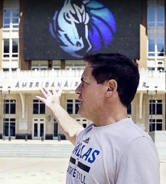 Mark Cuban in front of the American Airlines Center in Dallas, TX.