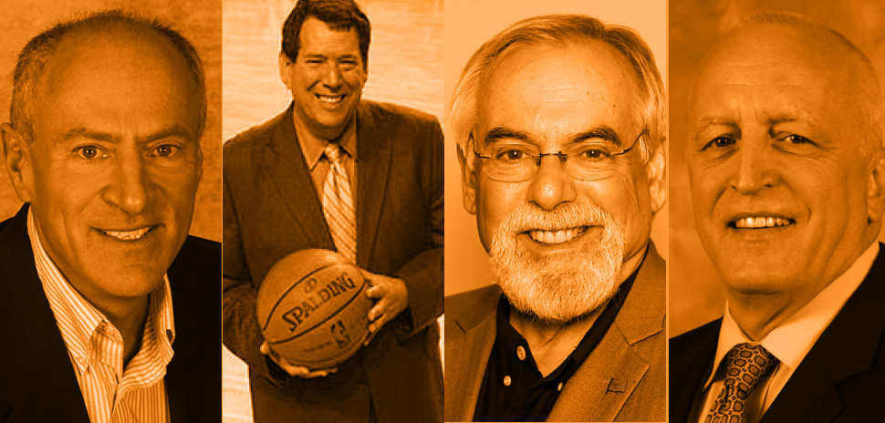 John Rhadigan will emcee a roundtable discussion among local radio play-by-play sports voices (from left) Eric Nadel, Brad Sham, Chuck Cooperstein, and Dave Strader.