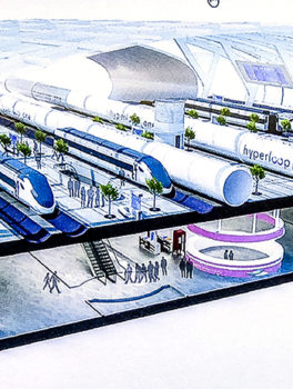 A rendering of the Hyperloop One station shown in a slide presentation by Steven Duong earlier this month.