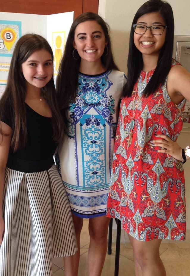 From left: Cristina Contreras, Kaylee Kimbrough, and Emily Chang developed the A2B app and won the congressional challenge for the 4th Congressional District.