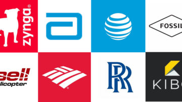 Clockwise from upper left: Zynga, Abbott Laboratories, AT&T, Fossil Group, Kibo Software, Rolls Royce, Bank of America, and Bell Helicopter.