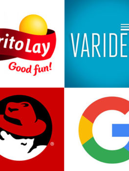 Clockwise from upper left: Patents were assigned to Hilti, Frito Lay, Varidesk, GE, Mary Kay, Google, Red Hat, and Electrolux.