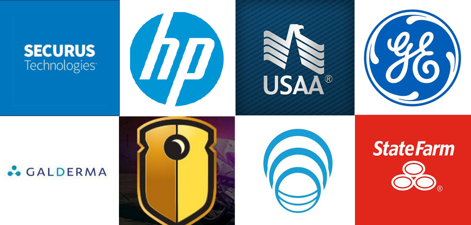 Securus, Hewlitt Packaged USAA GE Watchguard Video Genband State Farm Galderma