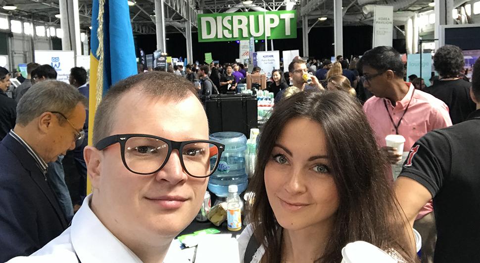 CruiseBe's Marina and Alex Shumaiev at TechCrunch Disrupt.
