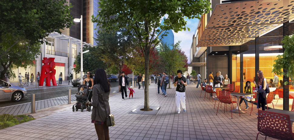 Rendering of the Trammell Crow Center  (Flora St. near Pearl ST.)