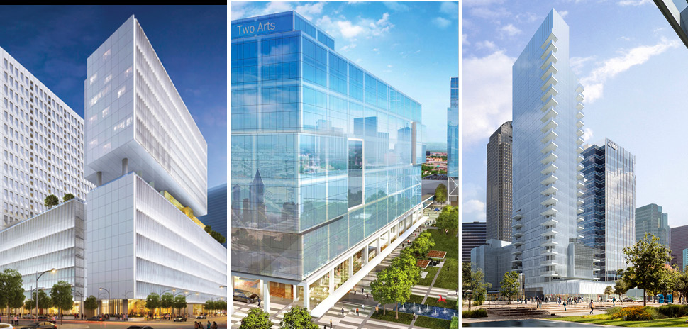 From left: Trammell Crow Center, 2000 Ross Ave.;Hall Arts II; and Two Arts Plaza. [Courtesy photos]